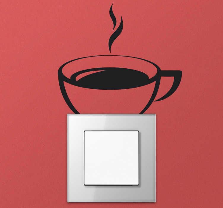 TenVinilo. Vinilo interruptor taza cafe. Vinilo interruptor taza de café con el que podrás decorar las paredes de tu cocina de un modo excepcional y diferente. Esta pegatina para el interruptor te ayudará a abrir la luz cada mañana.