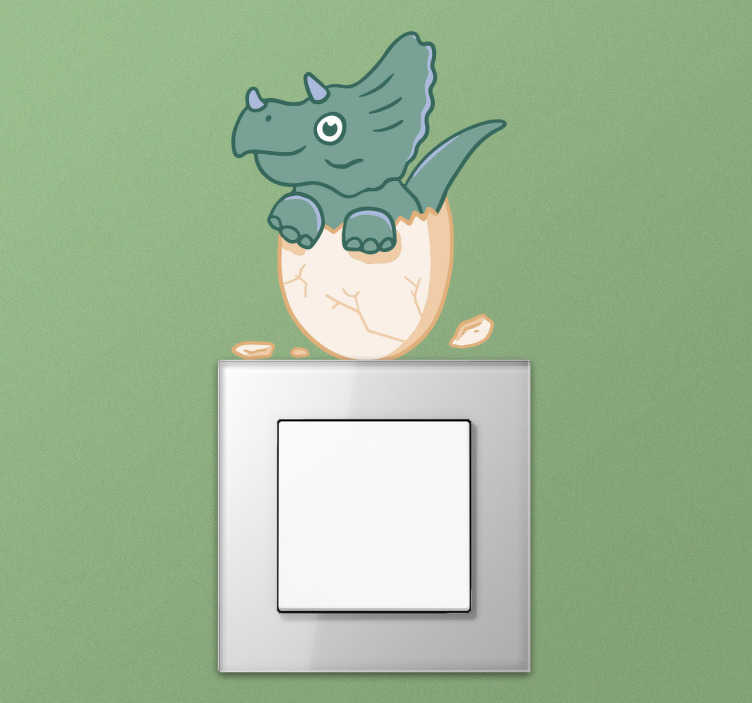 TenStickers. sticker interrupteur dinosaure. Sticker interrupteur dinosaure gentil personnalisable.