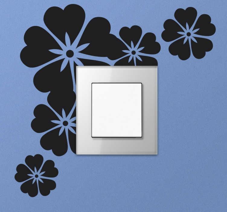 TenStickers. Lichtschalteraufkleber Hawaiiblumen. Verzieren Sie Ihre Steckdosen und Lichtschalter mit diesem Aufkleber. Das Wandtattoo zeigt die Silhouetten verschiedener Hawaiiblumen.