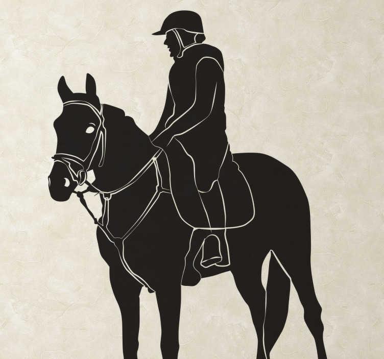 TenStickers. Autocolante decorativo cavaleiro a cavalo. Vinil autocolante de um cavaleiro a cavalo. Se gostas de cavalos, este autocolante que irá dar um novo aspecto ao teu espaço.