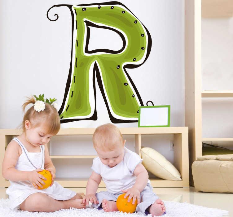 TenStickers. Naklejka litera r. Naklejka na ścianę dla dzieci przedstawiający zieloną literkę R i będzie idealną ozdobą w pokoju dla wszystkich Robertów, Renat oraz Rafałów.