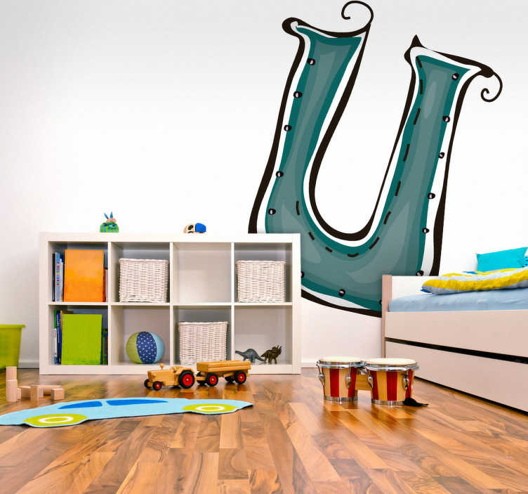 TenStickers. Naklejka literka u. Naklejka na ścianę z kolekcji litery alfabetu. Obrazek przedstawia literkę U oraz przeznaczony jest do dekoracji pokoju dziecięcego.