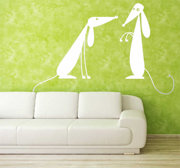 TenStickers. Two Dogs Wall Sticker. Dog Wall Stickers - Cute illustration of two friendly dogs to decorate any room in your home. Choose up to 50 colours and various sizes.