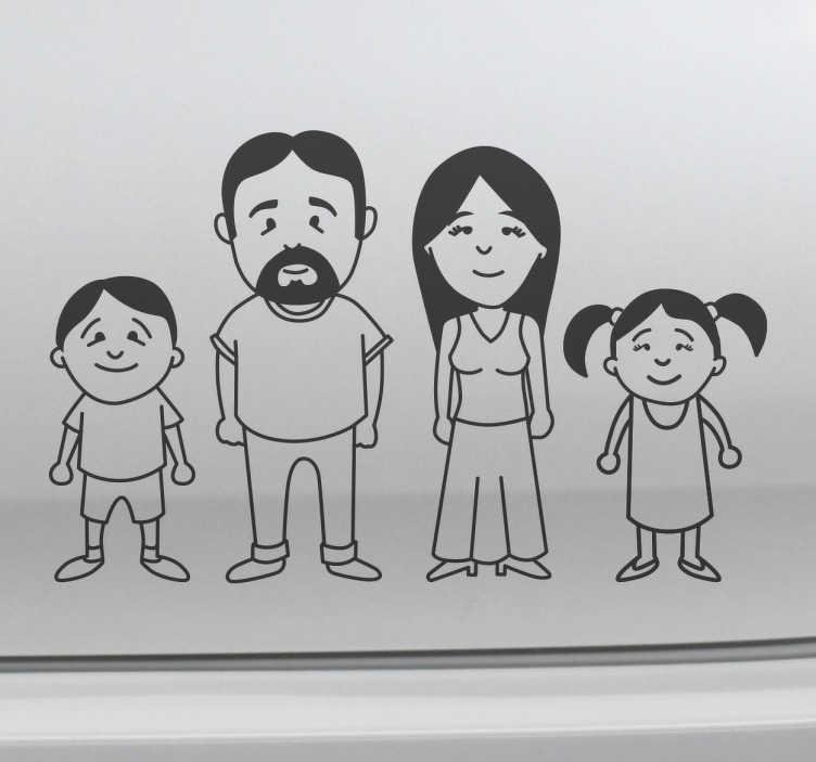 TenStickers. Adesivo disegno di famiglia. Adesivi personalizzabili per la carrozzeria della tua auto con disegno dei membri della tua famiglia. Scegli le misure ed i colori.