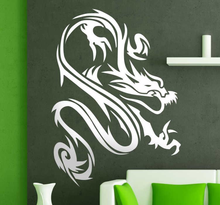 TenStickers. Draak Tattoo Muursticker. Een muursticker met een grote artistieke stijl ontwerp van een draak.  Een illustratie geïnspireerd om elke kamer in uw huis te versieren.