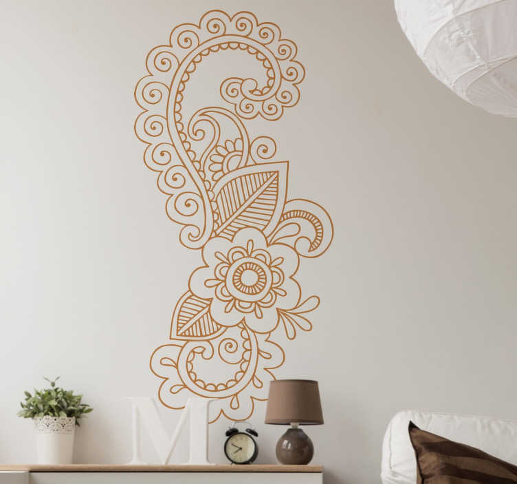 TenStickers. Mandala Motif Wall Sticker. A wall sticker with a beautiful floral design inspired by mandala flowers. Ideal for adding elegant decorative touches to any room in your home.