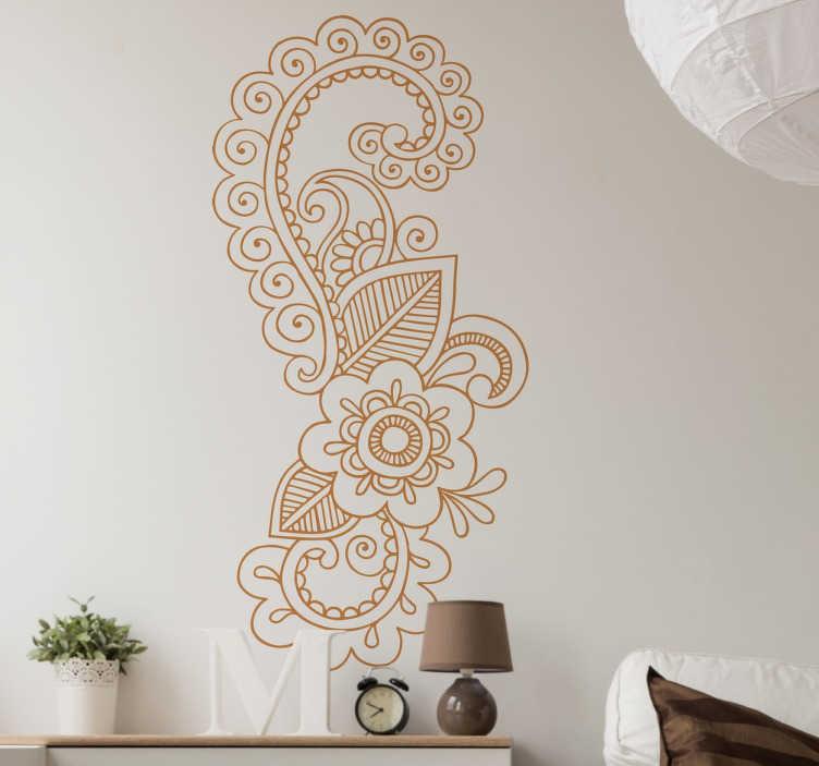 TenStickers. Naklejka dekoracyjna Wirujące kwiaty. Naklejka ścienna z pięknym kwiecistym wzorem, która odnowi wnętrze każdego pomieszczenia.