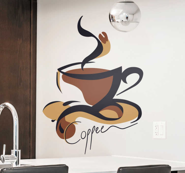 "TenStickers. Cup of Coffee Sticker. Abstract wall sticker with a design of a hot cup of coffee in brown and beige shades and the word ""coffee"" written below in a stylish cursive font. Ideal for decorating your kitchen or even cafes and restaurants in an original way."