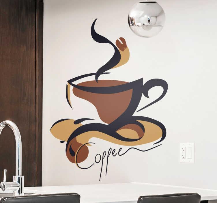 TenStickers. Kopje Coffee Muursticker. Een leuke muursticker met een decoratie van een hete kopje coffee. Een ideale decoratie voor het keuken.