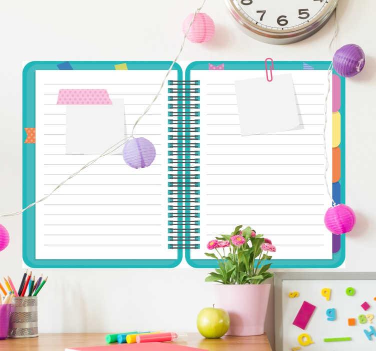 TenStickers. Whiteboardfolie Block. Die Whiteboardfolie in Form eines Blocks oder einer Mappe für die Schule bringt ein neues Erscheinungsbild in das Kinderzimmer.