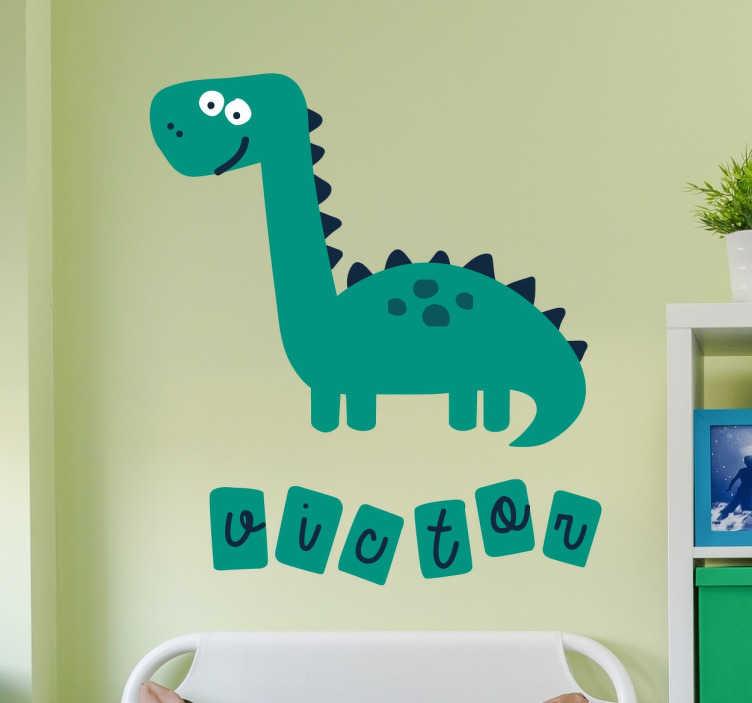 TenStickers. 아이들이 개인화 한 공룡 스티커. 아이들을위한 벽 스티커 -이 환상적인 공룡 벽 스티커를 아이의 침실에 제공하십시오. 자녀의 스티커가 귀하의 자녀 이름을 포함하도록 개인화 할 수도 있습니다.