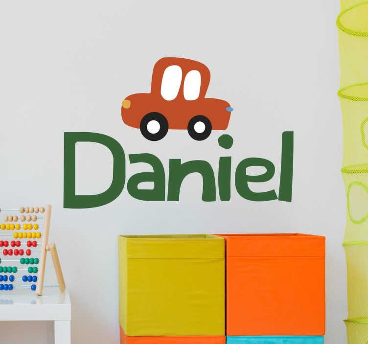 Vinilo infantil personalizable nombre coche