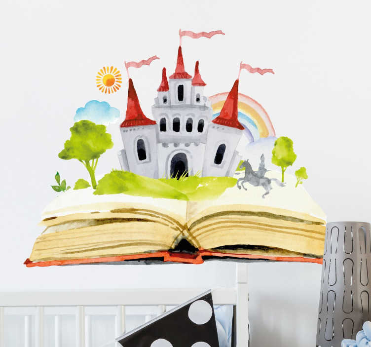 TenStickers. Kids Fairy Tale Story Sticker. An enchanting wall sticker with a water colour design of a castle emerging from a book.