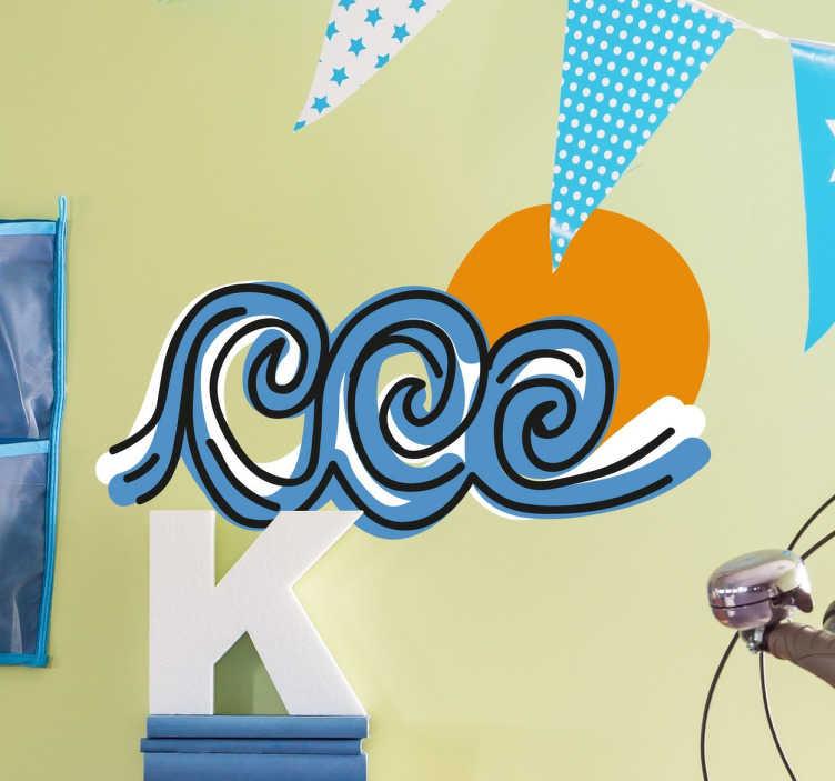TenStickers. Adesivo decorativo tre onde. Adesivi di surf per appassionati di questo sport acquatico che vogliono decorare la loro tavola o le pareti della loro stanza con un disegno originale