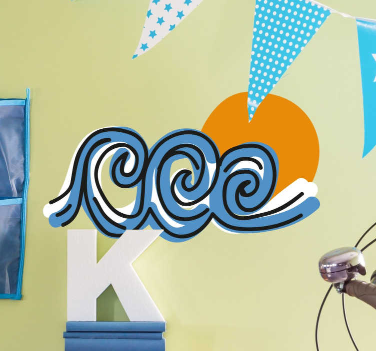 TENSTICKERS. 三波壁ステッカー. この装飾的な壁のステッカーは、波に乗るよりも何も愛するすべての人に最適です!