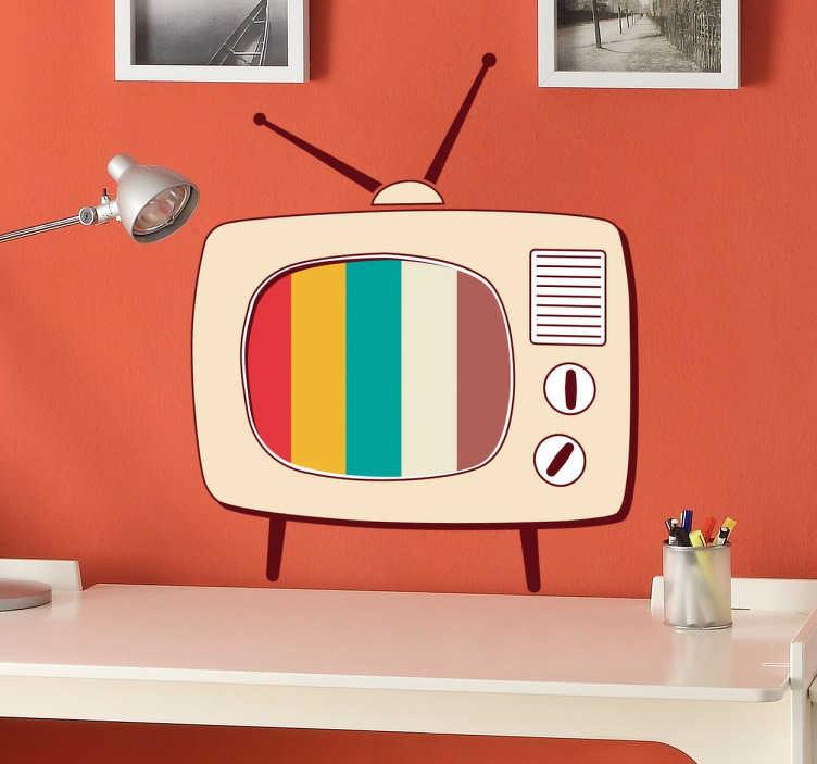 TenStickers. Adesivo retro pop TV. Vinil decorativo retro com a representação de uma televisão antiga, ideal para qualquer tipo de espaço.