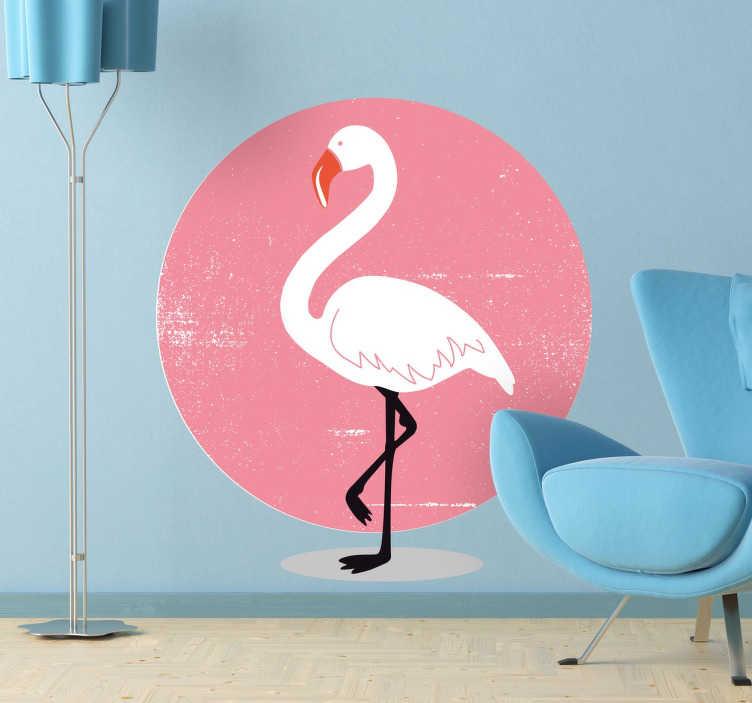 TenStickers. Sticker flamant rose rond. Sticker représentant un flamant rose qui se tient sur une patte, sur un superbe fond rond et coloré.