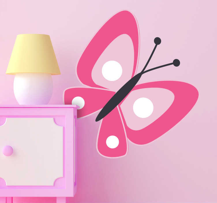 TenStickers. Růžová motýl děti samolepka. Jednoduchá, ale účinná elegantní samolepka motýlů na zdobení dětského pokoje, školky, obývacího pokoje a dalších, z kolekce našich samolepek na zdi. Použijte ji k přizpůsobení stěn ložnice vašeho dítěte a přinést živý barva do každodenního života.