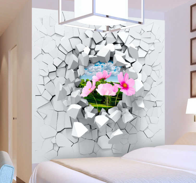 TenStickers. 3D Muur Explosie Sticker. Maak een leuke illusie op uw muur met deze grote 3D-muur sticker! Personaliseer de sticker met een beeld van de achtergrond die je leuk vindt.
