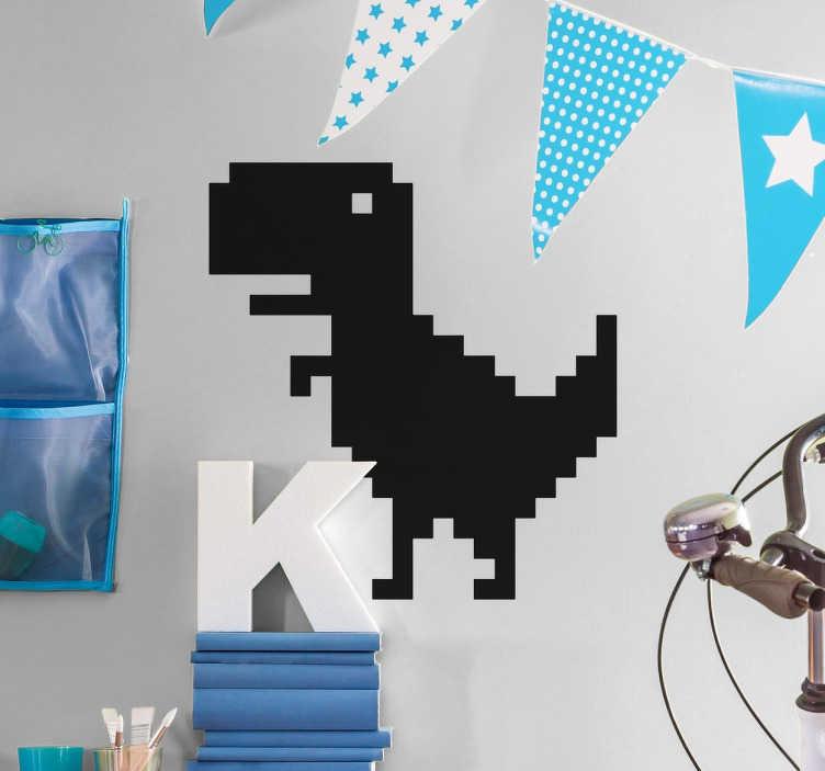 TenStickers. Wandtattoo Dinosaurier Pixel. Außergewöhnliches Design von einem Dinosaurier, das sich aus lauter Pixeln zusammensetzt. Wandtattoo für alle Dino Fans.