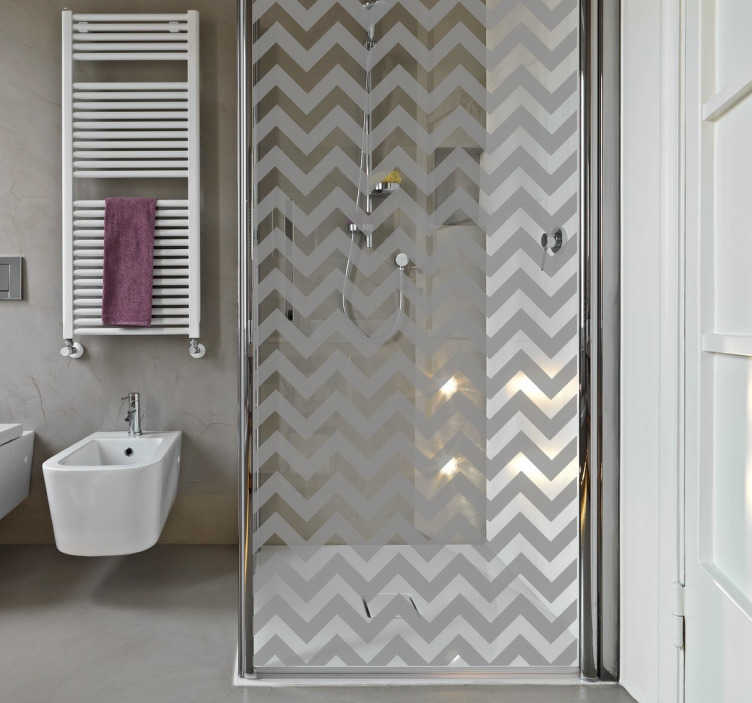 TenStickers. Driehoekige lijnen patroon sticker voor douche. Een douchecabine sticker waarmee u een frisse en moderne touch aan uw badkamer kunt geven. Kleur en afmetingen aanpasbaar.Dagelijkse kortingen.