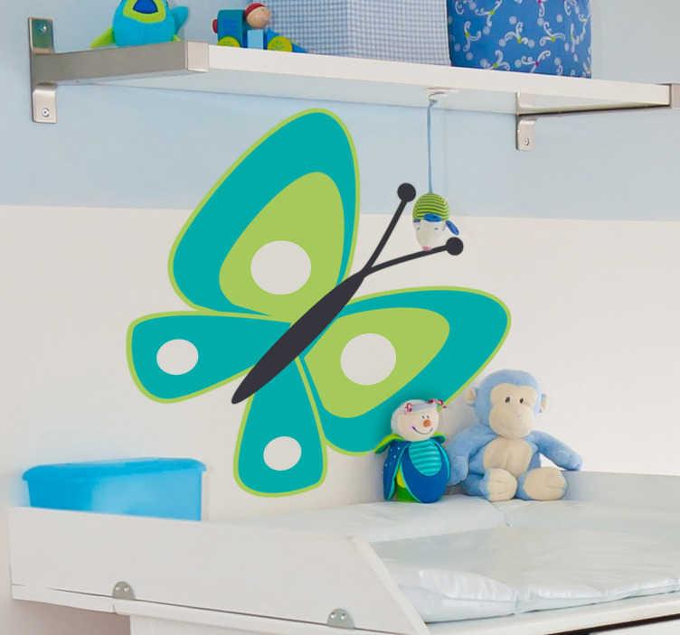 TenStickers. 청록 나비 키즈 스티커. 아이의 방을 꾸미기 위해 만들어진 아름다운 나비 데칼. 당신의 집을위한 나비 벽 스티커의 우리의 수집에서 디자인! 쉽게 적용 할 수 있습니다.
