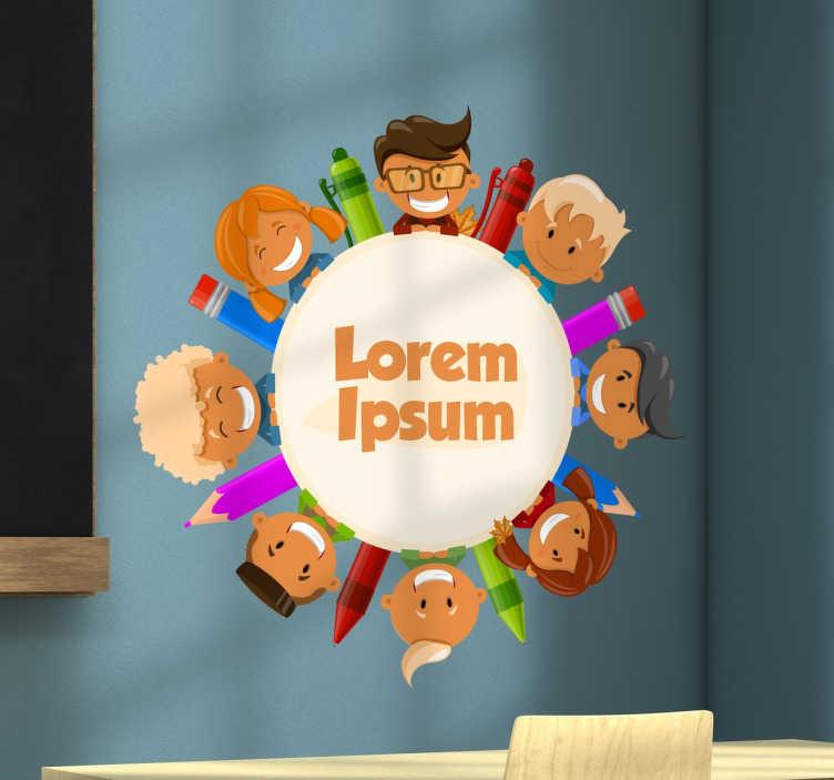 TenVinilo. Vinilo infantil círculo niños colegio. Vinilos decorativos personalizables con una colorida ilustración ideal para la vuelta al cole en septiembre.
