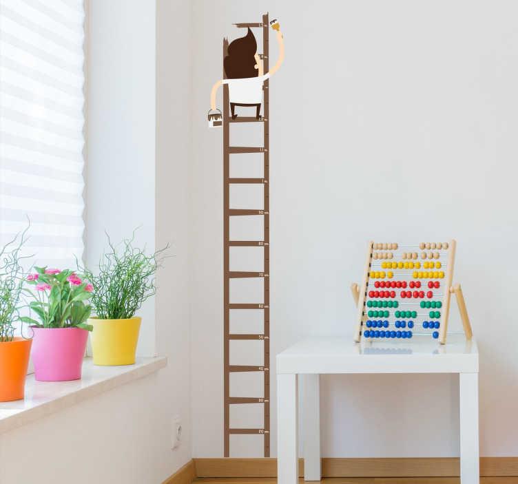 TenStickers. Adesivo infantil medidor pintor escada. Autocolante infantil ideal para seguir a evolução física dos mais pequenos lá de casa de uma maneira agradável e divertida.