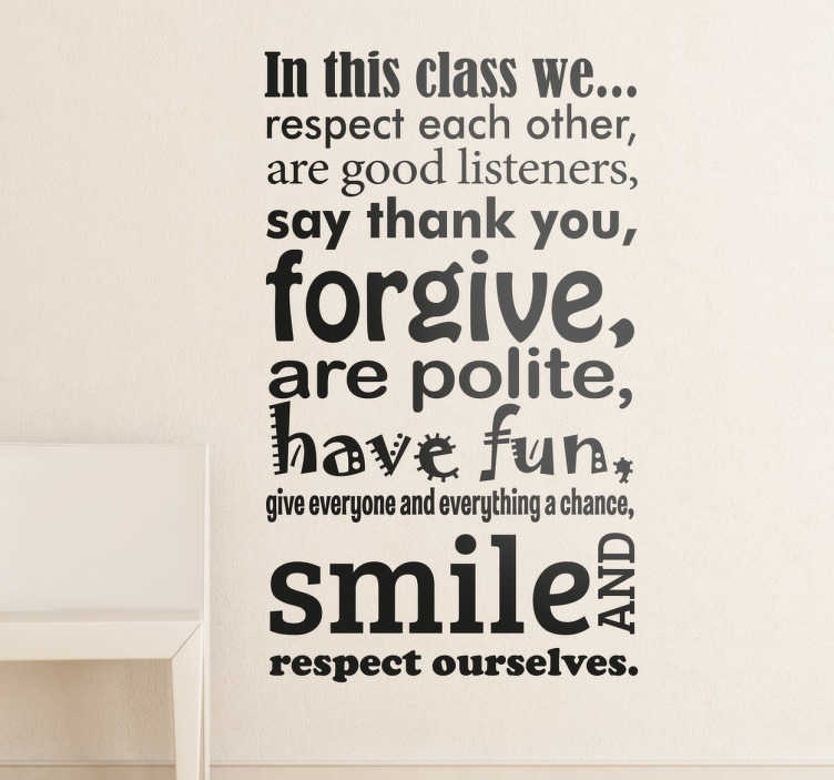 "TenStickers. Classroom Wall Sticker. Are you a teacher, looking to personalise your classroom? Then we have the perfect wall sticker for you"" Lay down the rules of the class with this wall decal Like many of our stickers this design comes in various sizes and colours"