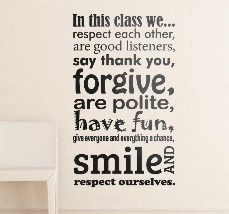 """TenStickers. Sticker décoratif """"In this class"""". Sticker texte """"Dans cette classe..."""" sur lequel figure une liste de normes de comportement en lien avec le respect et l'éducation."""