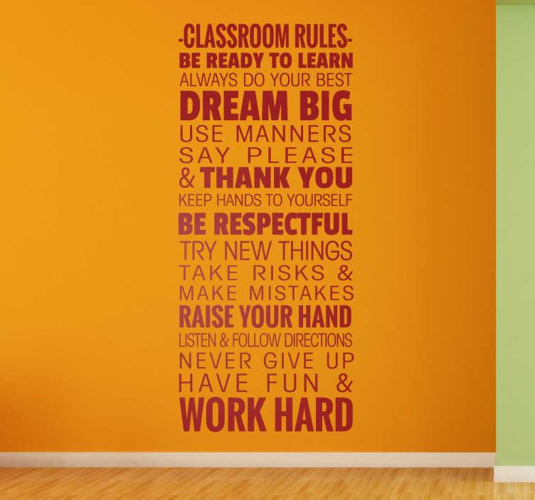 TenStickers. 교실 규칙 벽 스티커. 교실 벽 스티커 - 학생들이 학교 수거를 위해 벽 스티커의 일부를 따라야하는 중요한 교실 규칙을 설명하는 스티커.