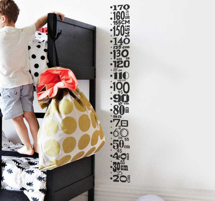 TenStickers. Measuring Tool Wall Sticker. With this height chart wall sticker, you can kill two birds with one stone as it works as decoration and as a ruler. This measuring wall decal consists of a column of numbers ascending from 20-170.