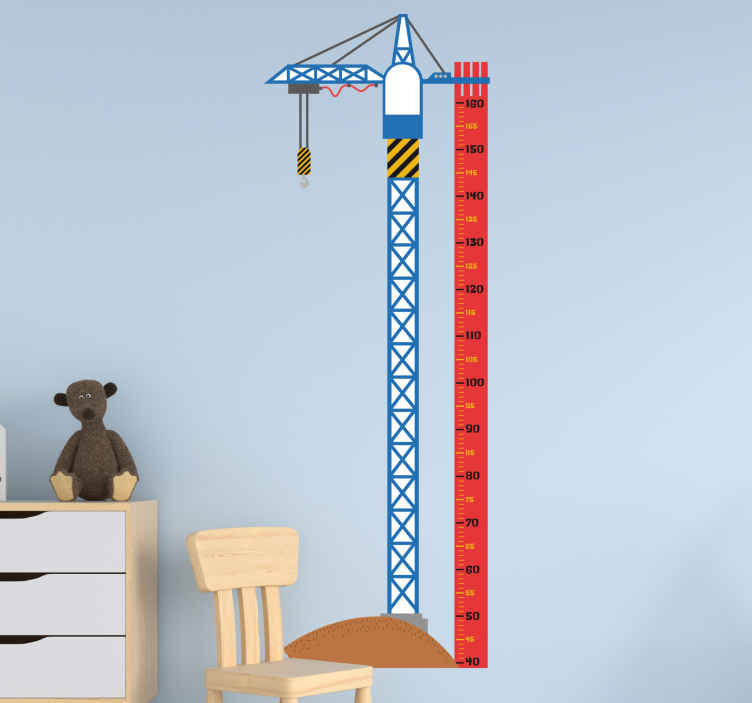 TenStickers. Wandtattoo Messlatte Kran. Mit dem Wandtattoo einer Messlatte, die einen großen Kran darstellt, können Sie das Wachstum Ihres Kindes im Auge behalten.