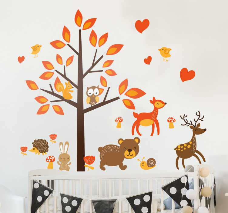 TenStickers. Autumn Forest Wall Decal. The wall decal illustrates a small autumn forest with a tree, an owl, a deer, a hare and a bear.