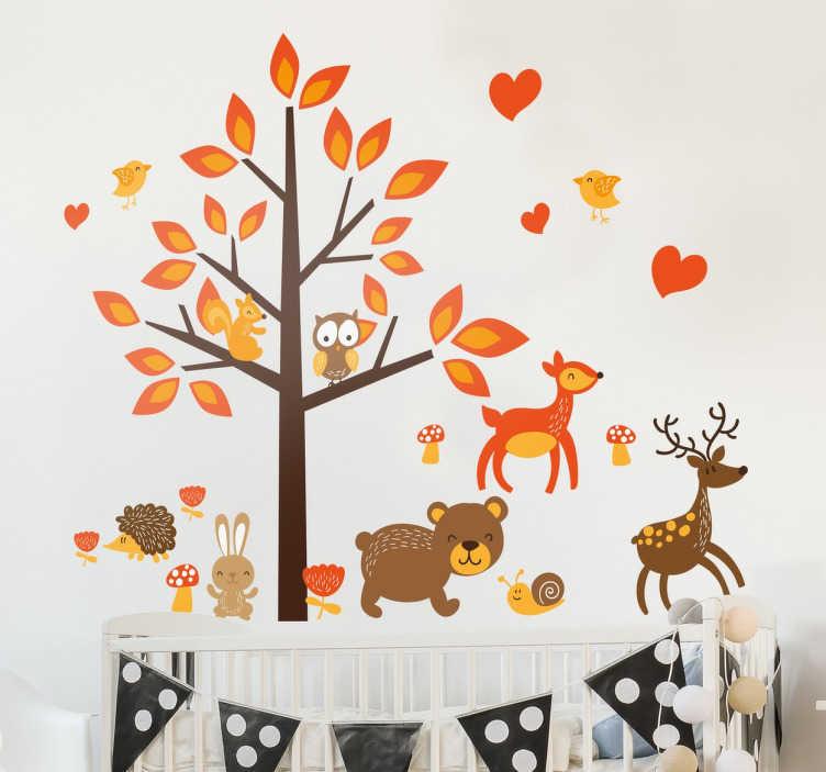 TenStickers. 가을 숲 벽 데칼. 가을 나무 벽 스티커 - 떨어지는 단풍과 숲 동물을 갖춘 장식 단풍 decal. 우리의 가을 스티커 컬렉션에서.