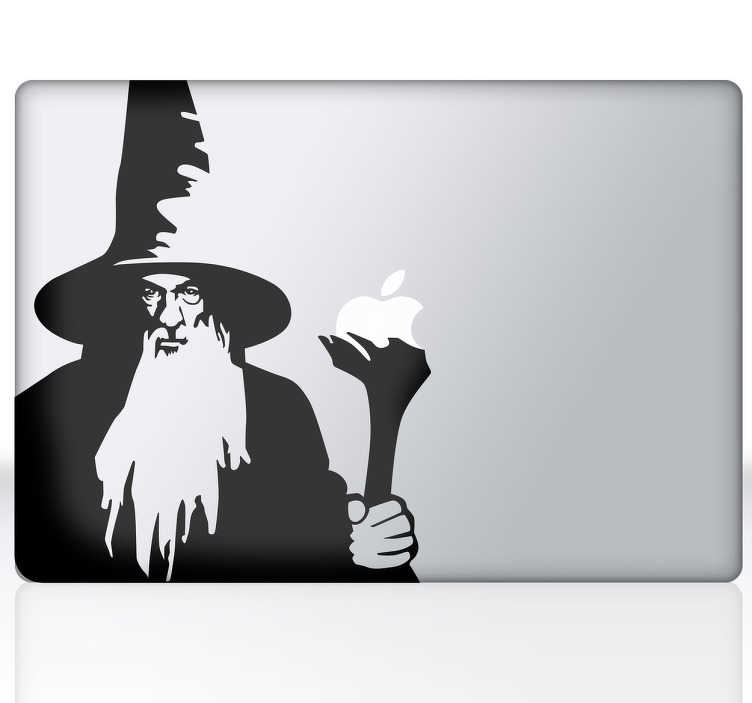 TenStickers. Laptopaufkleber Gandalf. Gandalf ist eine Figur, die von dem Schriftsteller J. R. R. Tolkien erschaffen wurde. Dekorieren Sie den Laptop mit der Silhouette von Gandalf.