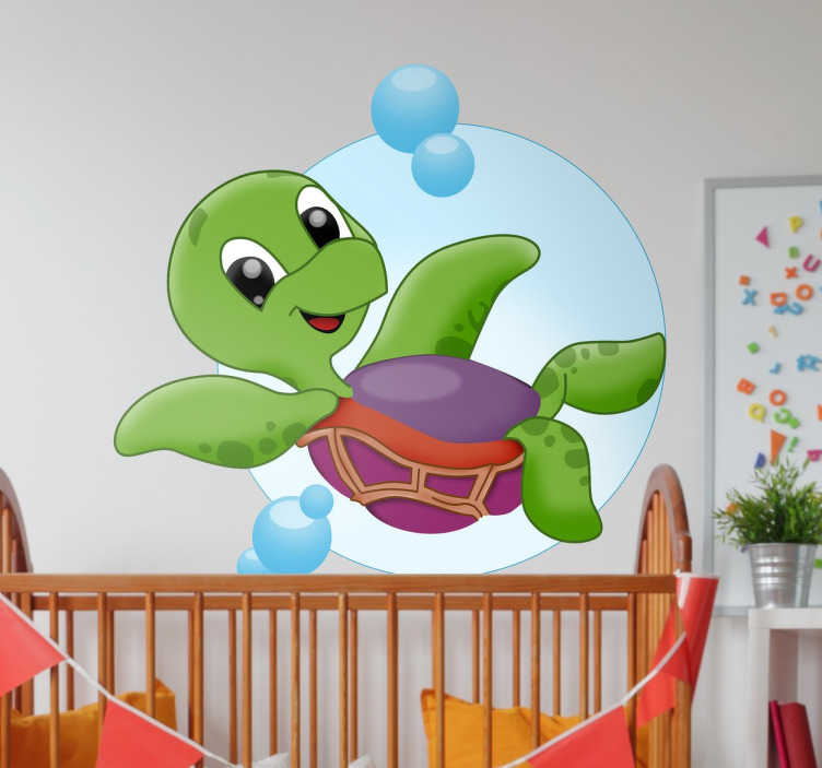 TenStickers. Cartoon Turtle Children's Wall Sticker. The perfect way to brighten up your kid's bedroom, nursery or playroom, this children's decorative wall sticker is shows a fun cartoon design
