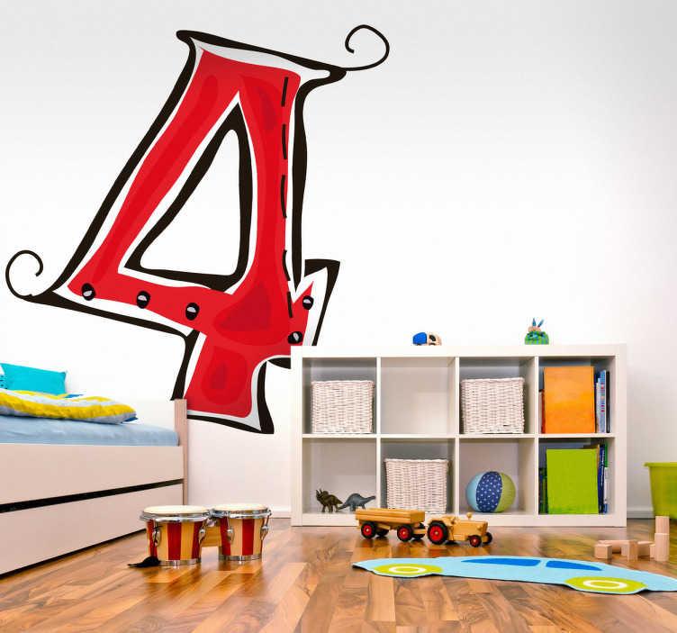 TenStickers. Naklejka numer 4. Naklejka na ścianę z numerem 4 w kolorze czerwonym. Naucz Swoje dzieci podstawowej numeracji dzięki naszej naklejce dekoracyjnej. Obrazek dostępny w różnych rozmiarach.