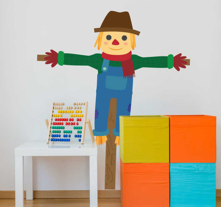 TenStickers. Vinil decorativo infantil espantalho. Vinil decorativo infantil de um espantalho amigável. Adesivo de parede ideal para quartos de crianças. Sticker para personalização de interiores.