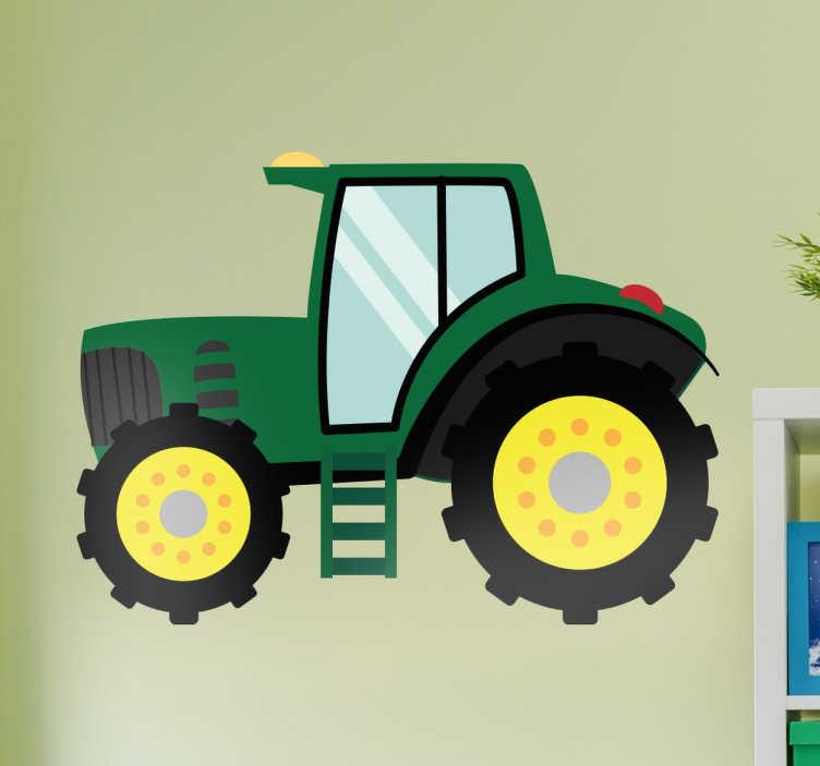 TenStickers. Otroška nalepka za traktorje. Ta zelena zasnova traktorja je odlična dekorativna otroška stenska nalepka! Primerno za spalnice, vrtce in igralnice. Odlično oblikovanje vozniškega kolesa iz naše kolekcije tematskih sten na kmetiji.
