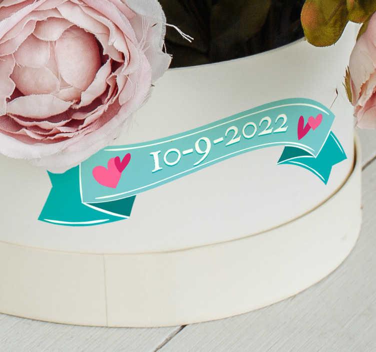 TenStickers. Sticker mariage banderole date. Sticker mariage représentant une banderole sur laquelle vous pouvez écrire la date de l'événement.