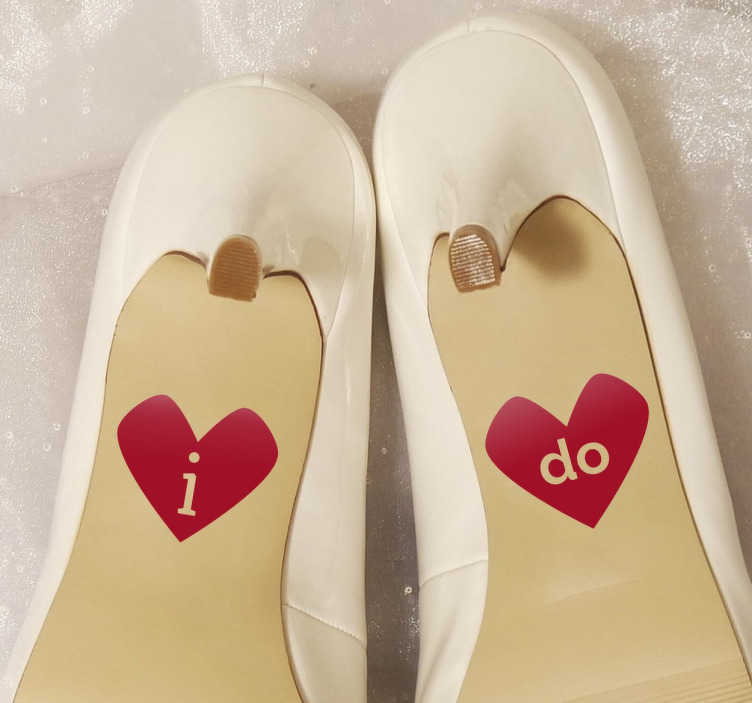 TenStickers. I Do Heart Shoe Stickers. 'I do' heart sticker designs that are ideal to place on the bottoms of your wedding shoes for a unique and memorable touch.