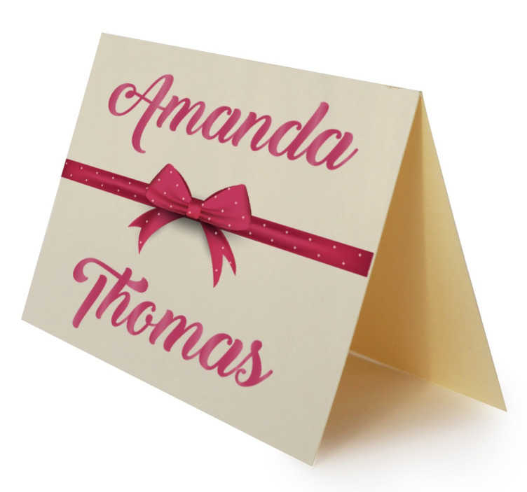Customisable Wedding Names and Bow Sticker