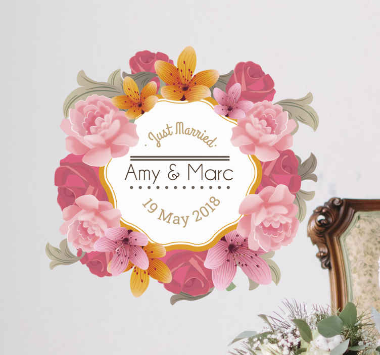 TenStickers. Personalised Floral Frame Wedding Sticker. This beautiful floral sticker is ideal for bringing a bright touch of nature to your wedding day!