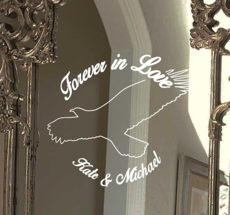 TenStickers. 永远相爱的可定制婚礼贴纸. 这款可定制的婚礼贴纸可以向您的客人展示您永恒的爱,可以贴在室内或室外的任何坚硬表面上!