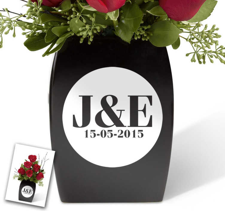 TenStickers. Customisable Initial Circular Vase Sticker. This customisable sticker features the initials of a couple and a date in a stylish monochrome circle. The ideal present for weddings or anniversaries