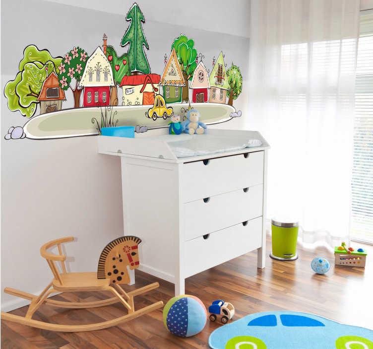 TenStickers. Sticker enfant village. Stickers décoratif illustrant un petit village.Idéal pour apporter de la gaieté aux espaces de jeux des enfants. Idée déco originale pour la chambre d'enfant.
