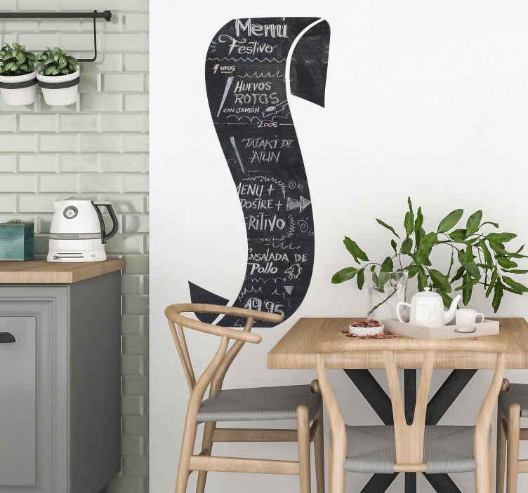 TenStickers. Naklejka ślubna tablica menu. Naklejka ślubna dekoracyjna w formie tablicy abyś mógł wpisać dania,które pojawią się na waszym weselu.Zaskocz gości pomysłowością.