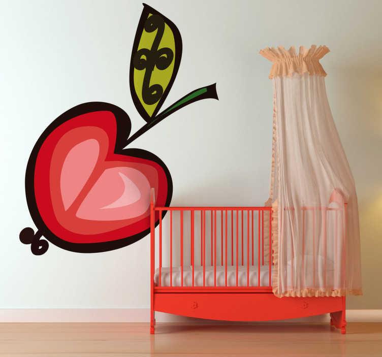 TenStickers. Kirsche Zeichnung Aufkleber. Mit dieser Zeichnung einer Kirsche als Wandtattoo können Sie die Wand im Kinderzimmer dekorieren und zum Hingucker machen.