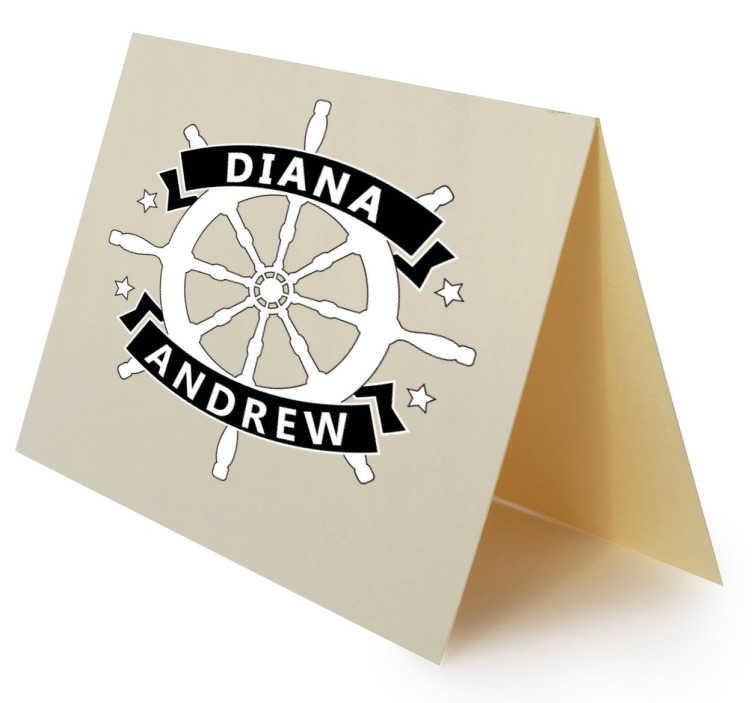TenStickers. Sticker personnalisable gouvernail bateau. Autocollant mariage personnalisable où vous pouvez écrire les noms de la mariée et le marié.